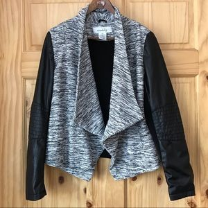 Sebby draped mixed media tweed Moto jacket Sz S